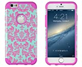 iPhone 6, DandyCase 2in1 Hybrid High Impact Hard Sea Green Flower Pattern + Pink Silicone Case Cover for Apple iPhone 6 (4.7