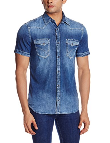 GAS Men's Casual Shirt (8059890968954_81140W139_Large_W139 - Blue)  available at amazon for Rs.3594