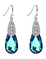 Charm Moon Swarovski Elements Blue Water-drop Shaped Drop Earrings For Women [CM4082]