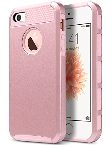 ULAK Cover iPhone 5S Silicone, iPhone SE 5S Cover , PC + TPU Cover ibrida rigida super protettiva con doppio strato in silicone Per iPhone SE / 5, iPhone 5S custodia - Oro rosa