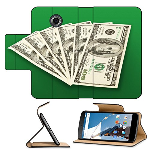 Luxlady Premium Motorola Google Nexus 6 Flip Pu Leather Wallet Case money concept several dollars banknotes over green IMAGE 36370297