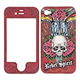 Premium – Apple iPhone 4 -Rebel Spirit Guns and Roses with Skull with rubberized finish – Faceplate – Case – Snap On – Perfect Fit Guaranteed
