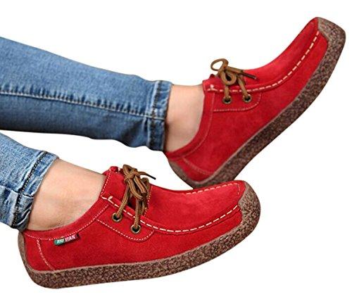 XIU XIAN Women Snail Casual Lace-up Genuine Leather Flat Sneaker Shoes(9 B(M) US, Red)