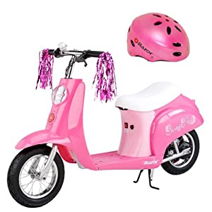 Razor Pocket Mod Miniature Euro Electric Scooter in Sweet Pea with Razor V-17 Youth Helmet (Satin Pink)