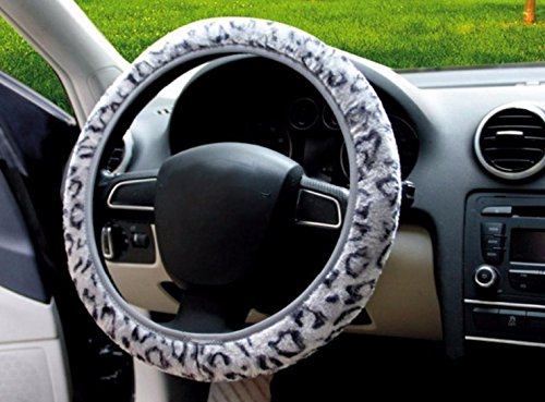Gray Color Soft Warm Cover Golden Cheetah Steering Wheel Cover Automotive Supplies Anti-Slip Car Steering Wheel Cover (Princess Car Steering Wheel Cover compare prices)