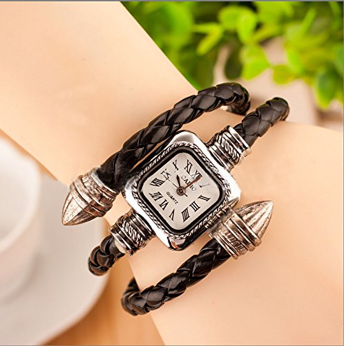 9 colors Vintage Leather Bangle Bracelet Watch