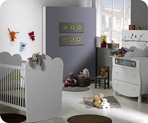 Mini Babyzimmer Linea weiß mit Gitterbettchen und Wickelfläche kaufen
