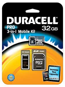 Duracell DU-3IN1C1032G-R 32GB MicroSD C10 with 2 Adapters