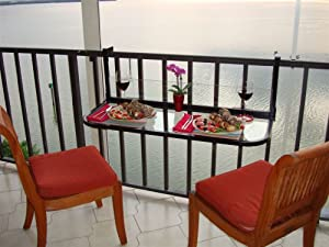 Amazon.com : Terrace Table (Black) - Folding Balcony Table Balcony Bar