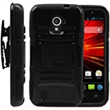 MINITURTLE, High Impact Rugged Hybrid Dual Layer Protective Phone Armor Case Cover with Built in Kickstand, Swiveling Holster Belt Clip, and Clear Screen Protector Film for Prepaid Straight Talk Android Smartphone ZTE Majesty Z796C, ZTE Source N9511 (Black)