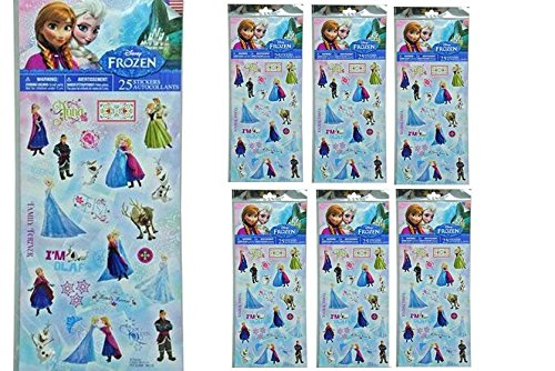 Disney Frozen 25 stickers in poly bag x 6