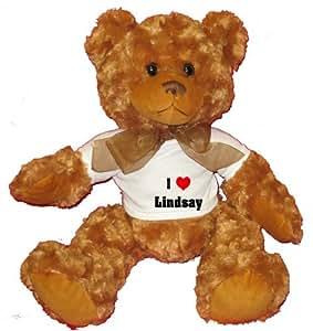 I Love/Heart Lindsay Plush Teddy Bear with WHITE T-Shirt