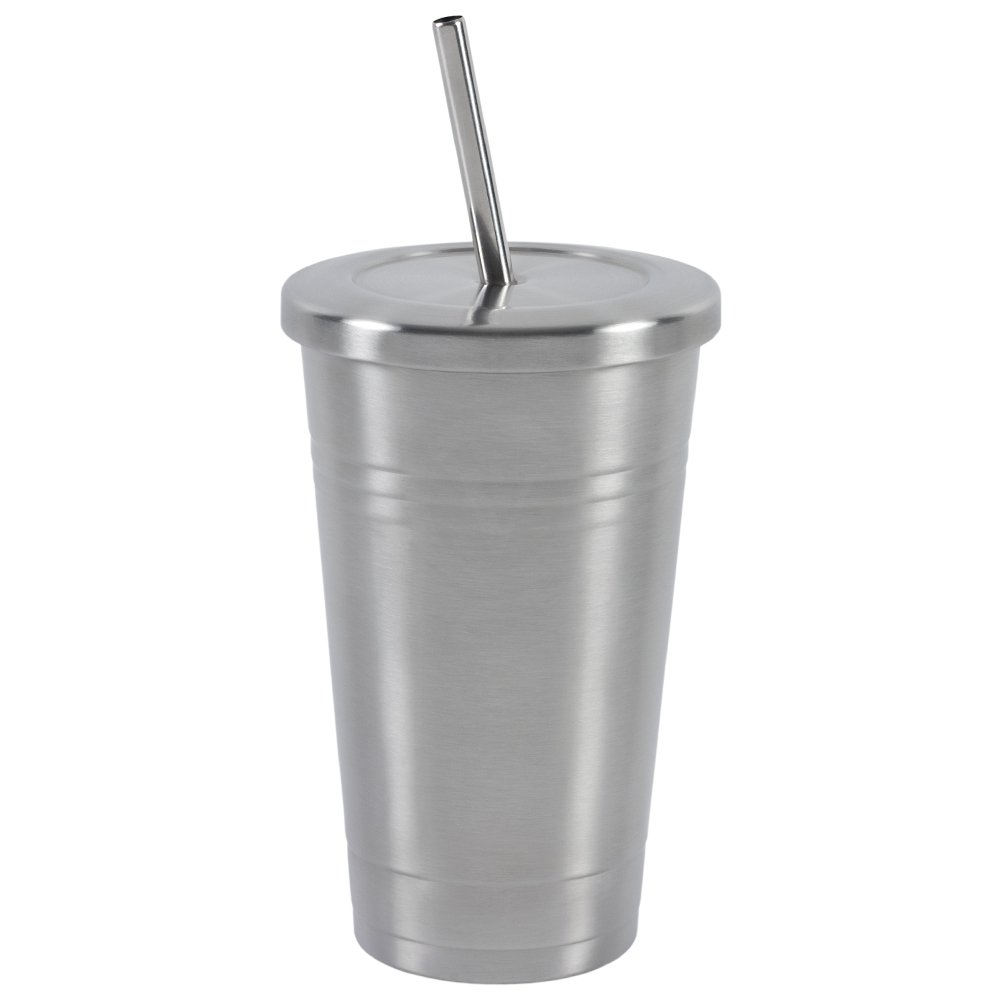 Stainless Steel 16 OZ Tumbler by Varvino, Insulated Travel Mug with 2 Stainless Straws, for Hot/Cold Drinks