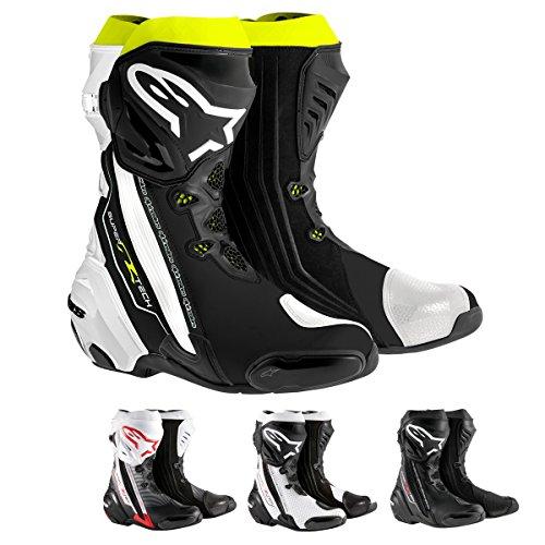Alpinestars Supertech R Men's Motorcycle Road Racing Boots (Black/White/Fluorescent Yellow, EU Size 48)