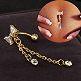 HuntGold-1X-Hot-Shining-Jewelry-Bow-Diamond-Navel-Ring-Belly-Ring-Dangle-Body-Piercingwhite