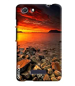 Omnam Sea Side With Sun Rise Effect Beautiful Printed Designer Back Cover Case For Micromax Unite 3