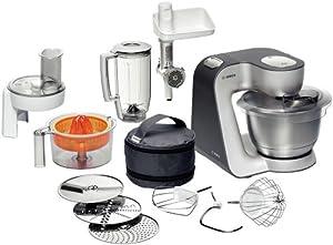 Bosch MUM56340 Küchenmaschine Styline MUM5 (900 Watt, Edelstahl-Rührschüssel, Durchlaufschnitzler, Rühr-Schlagbesen und weiteres Zubehör) silber