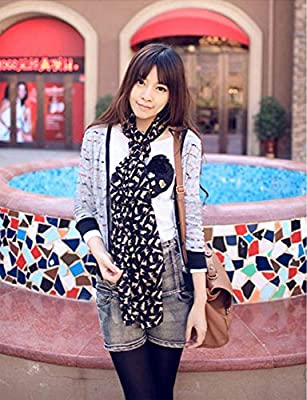Lady Girl Women Fashion Long Soft Wrap Lady Shawl Print Cat Chiffon Long Scarf Scarves Stole