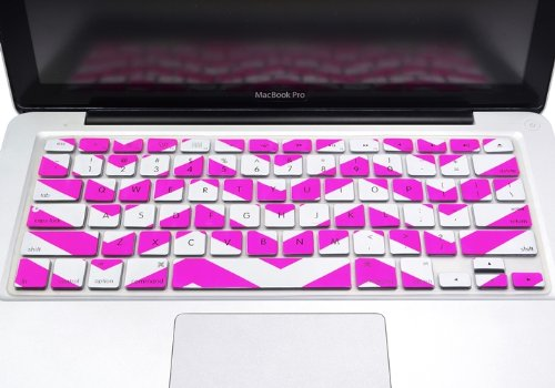 "Topcase Chevron Zig - Zag Silicone Keyboard Cover Skin For Macbook 13"" Unibody / Macbook Pro 13"" 15"" 17"" With Or Without Retina Display / New Macbook Air 13"" / Wireless Keyboard + Topcase Mouse Pad (Hot Pink)"