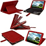 """iGadgitz Red Genuine Leather Case Cover for Asus Eee Pad Transformer Prime & Keyboard Dock TF201 10.1"""" Android Tablet"""