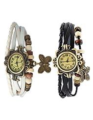 Felizo Set Of 2 Fancy Vintage White & Black Leather Bracelet Butterfly Watch For Girls & Women - Combo Offer