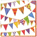 Entertaining with Caspari Festive Flags Paper Luncheon Napkins, Pearl, Pack of 20