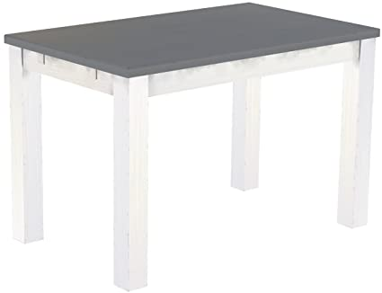 Brasil Furniture Silk Grey 'Rio' 120 x 73 cm Solid Wood Dining Table, White