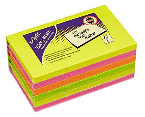 snopake-127x76mm-sticky-notes-neon-assorted-colours-pack-of-6-100-sheets-per-pad