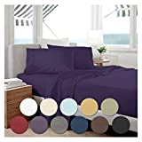 "Bed Sheet Set by Becky Cameron Bedding - 18"" Deep Pocket Sheets - 1800 Series Brushed Microfiber 4 Piece Set - King, Purple"