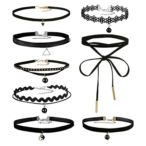 Areke Leather Chain Choker Necklace for Women Girls, Gothic Tassel Velvet Necklaces Adjustable Set Style 8 Pcs (Nickle Back Shirts compare prices)