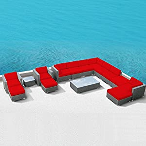 Luxxella Patio Bella 15pcs Outdoor Furniture All Weather Wicker Couch Sofa Set (Red) from Luxxella