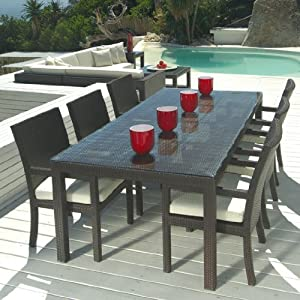 Outdoor Wicker Patio Furniture New Resin 7 Pc Dining Table Set With 6