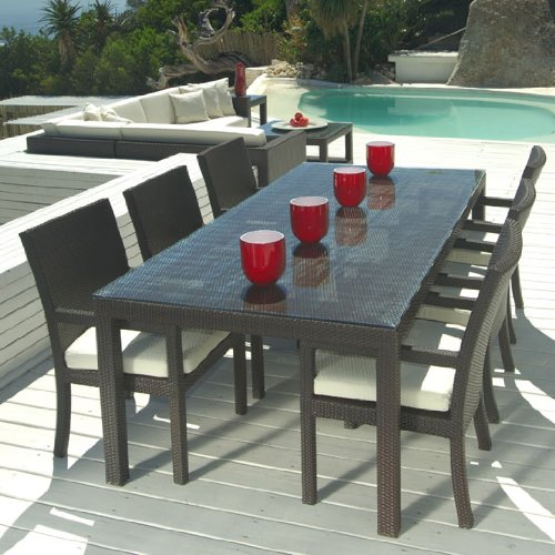 Outdoor Wicker Patio Furniture New Resin 7 Pc Dining Table Set with 6 Chairs photo