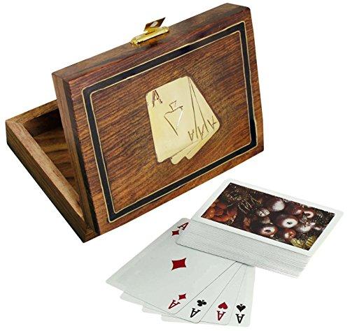 Scatola di carte da gioco in legno per la conservazione - supporto di carte da gioco con mazzo di carte - giochi di carte - 3,81 x 11,43 x 8,89 cm