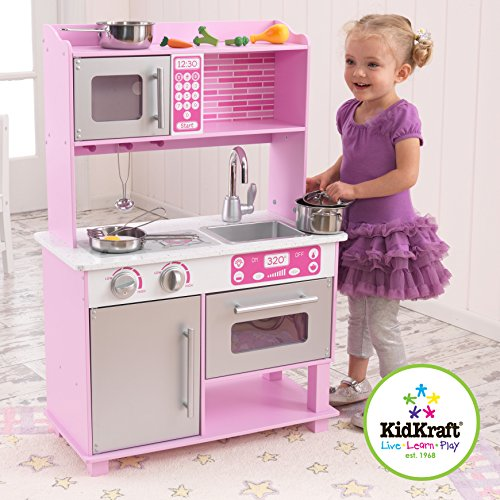 Kidkraft Girl 39 S Pink Toddler Kitchen With Accessories Toys