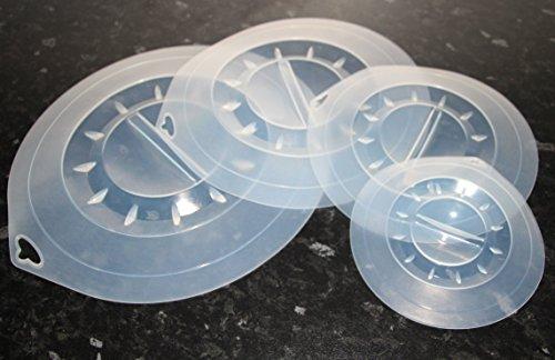 Pack de 4 couvercles aspirants: 30 cm, 25,5 cm, 20 cm, 15 cm