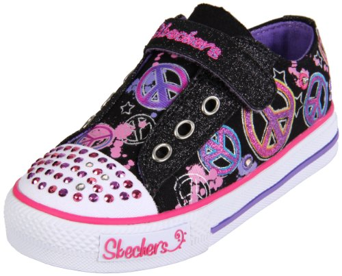 Skechers Twinkle Toes S Lights Jazzy Girl Sneaker (Toddler),Black/Multi,9 M US Toddler