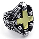 Aooaz Men's Ring Stainless Steel Ring Silver Gold Tone Cross Size US 8 13 Vintage Retro Gothic Punk Rock