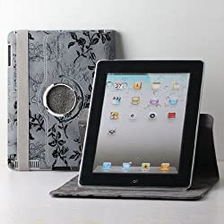 TCD for Apple iPad Air 2 [iPad 6] Fancy PU Leather Case LIFETIME WARRANTY Stand [SILVER] w/ Black Stencil Flower Design [360 Rotation] Case Cover Stand [Auto Wake/Sleep Feature]