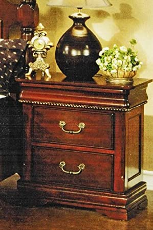 Nightstand with Hidden Drawer in Cherry Finish