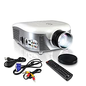 Pyle LED Projector 140-Inch Viewing Screen with Built-In Speakers and USB Reader 1080P Support, Digital Screen Size Zoom Adjustable For Easy Viewing Feature