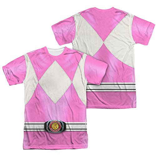 [Power Rangers Children's Live Action TV Series Pink Costume Adult 2-Side Print T] (Yellow Power Ranger Costumes Child)