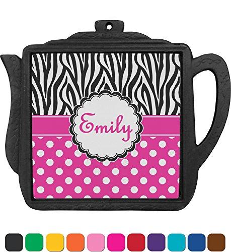 Zebra Print & Polka Dots Teapot Trivet (Personalized) (Zebra Teapot compare prices)