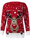 (M) WOMENS KNITTED RUDOLF REINDEER LADIES XMAS CHRISTMAS NOVELTY JUMPER SWEATER TOP | RED - LS red nose reindeer knit jmpr | ML 12/14