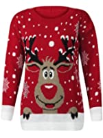 (M) WOMENS KNITTED RUDOLF REINDEER LADIES XMAS CHRISTMAS NOVELTY JUMPER SWEATER TOP | RED - LS red nose reindeer knit jmpr | SM 8/10