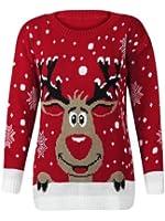 (M) WOMENS KNITTED RUDOLF REINDEER LADIES XMAS CHRISTMAS NOVELTY JUMPER SWEATER TOP | RED - LS red nose reindeer knit jmpr | ML 12/14