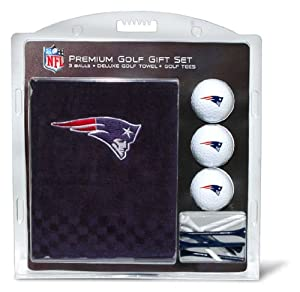 NFL New England Patriots Embroidered Golf Towel (3 Golf Balls 12 Tee Gift Set) by Team Golf
