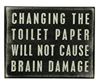 Primitives by Kathy Box Sign, 5 by 4-Inch, Toilet Paper by Primitives by Kathy