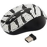 Wireless USB Optical Scroll Wheel Silver and Black Zebra Crystal Rhinestone Computer Mouse