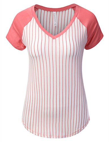 f16088e49bf JJ Perfection Women s Striped Short Sleeve V-Neck Raglan - Import It All